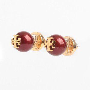 Tory Burch Crystal Pearl Logo Red Stud Earrings